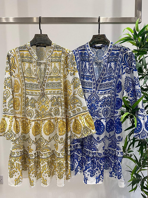 Smock Dress in Blue & White