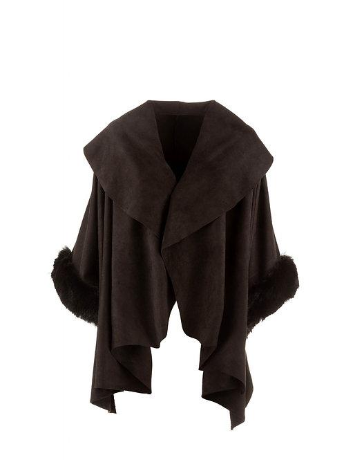 Faux Fur & Faux Suede Wrap | Black
