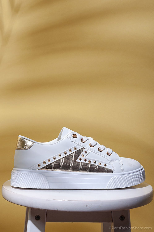 Gold Studded White Lace Up Trainers