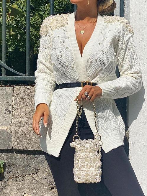 Pearl Embellished Cardigan | White