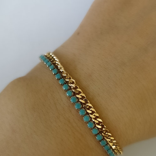 Double Layer Turquoise and  Chain Bracelet | Gold
