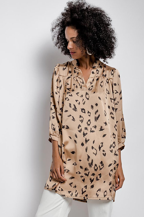 Leopard Print Satin Tunic with Puff Sleeve | Beige