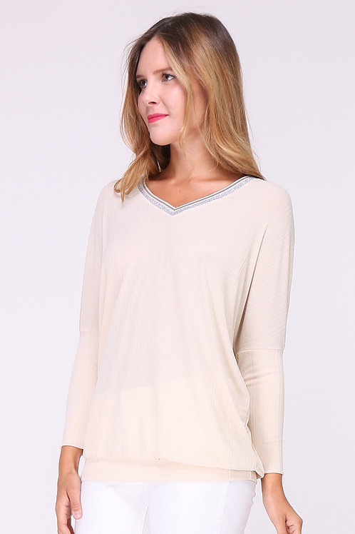 beige v neck top