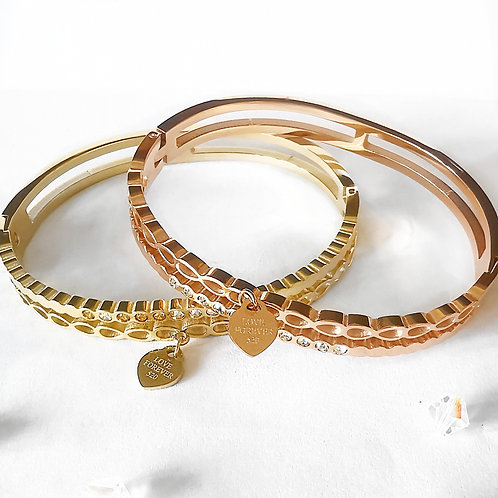 LOVE FOREVER Crystal Stainless Steel Bangle | Rose Gold, Gold or Silver