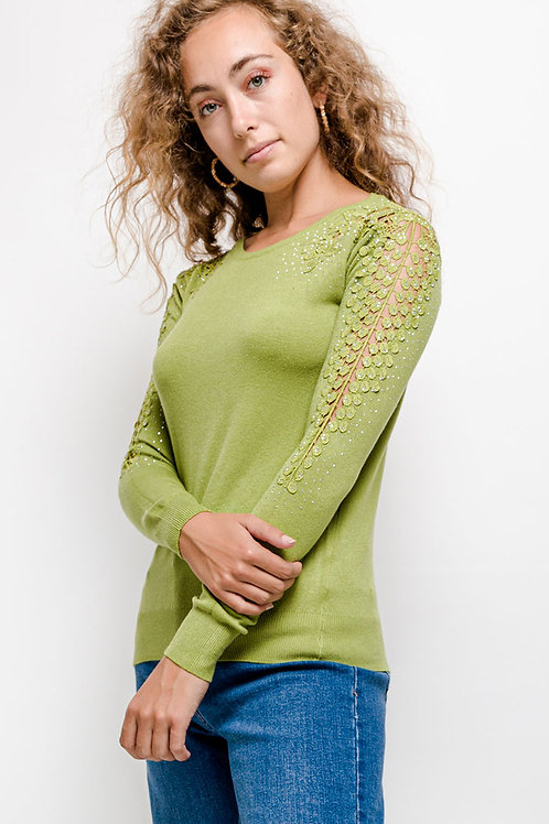 Knitted Jumper with Crystal & Lace Detail | S/M or L/XL