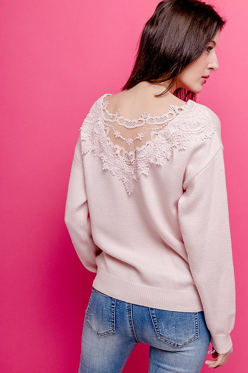 Feminine Lace Back Knitted Jumper | Various Colours