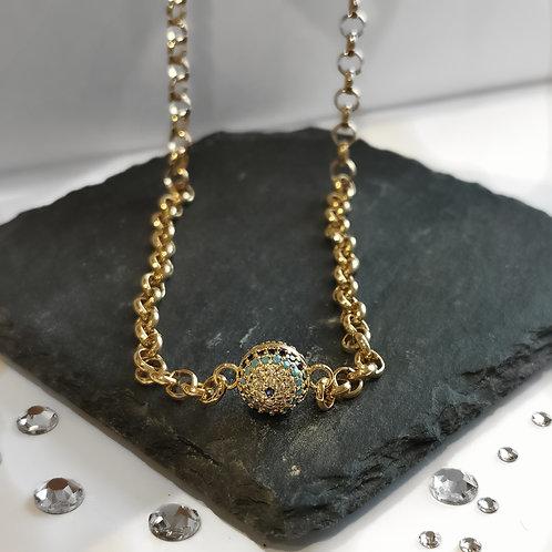 Evil Eye Chain Crystal Embellished Necklace | Gold