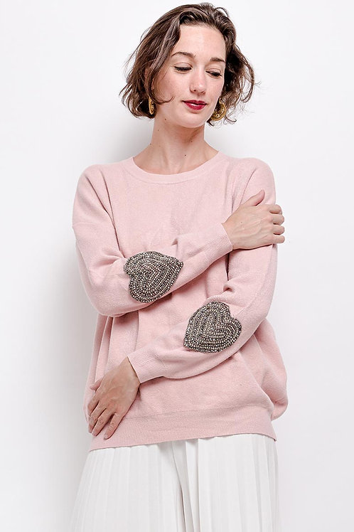 Knitted Jumper with Crystal Heart Detail   One Size