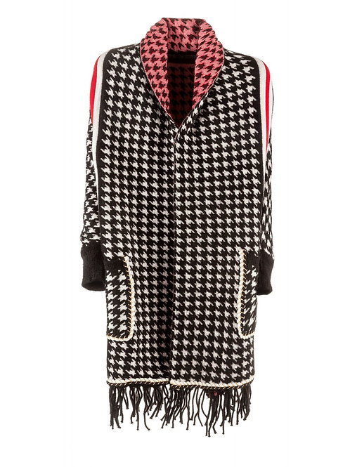 Houndstooth Cardi Coat | Black or White