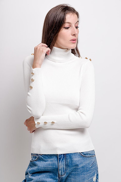 Military Button Ribbed Wool Mix Roll Neck Jumper | S/M or L/XL