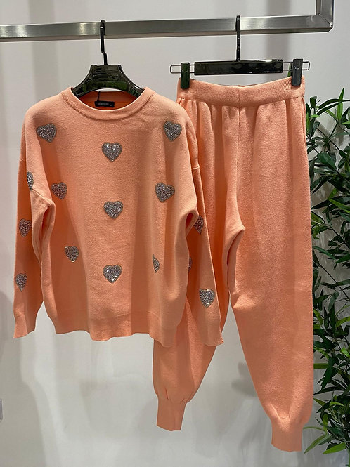 Crystal Heart Embellished Loungewear Sets