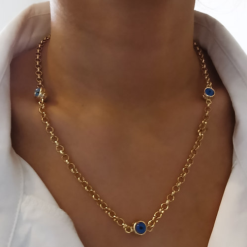 Evil Eye Chain Embellished Necklace   Gold