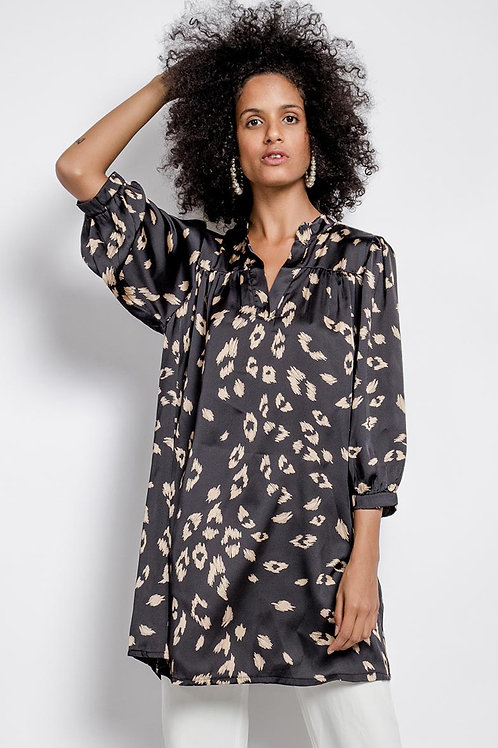 Leopard Print Satin Tunic with Puff Sleeve | Black