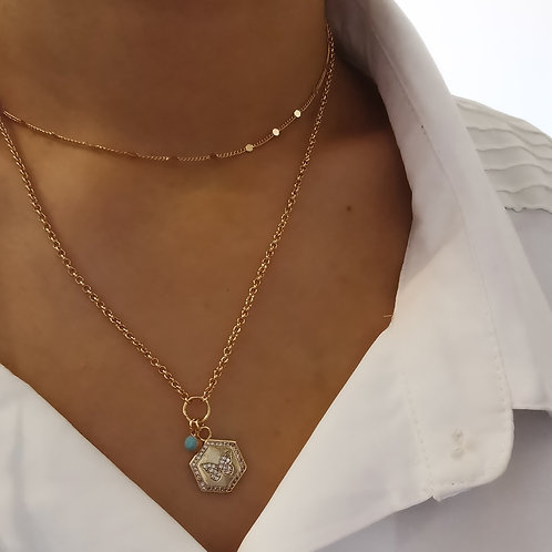 Double Layer Crystal Butterfly Pendant Necklace with Turquoise Drop | Gold