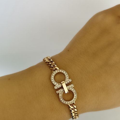 Chunky Crystal Chain Bracelet | Gold