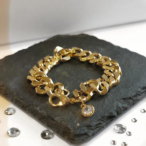 Chunky Chain Crystal Drop Bracelet | Gold