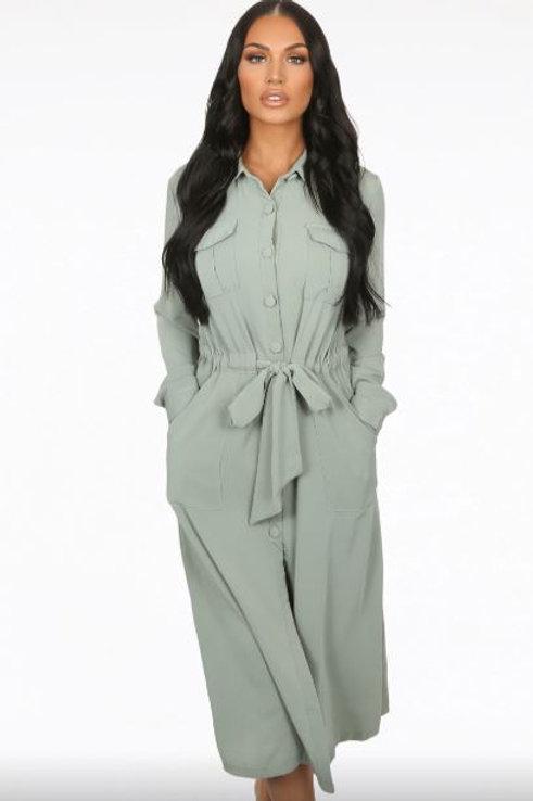 Mint colour shirt dress