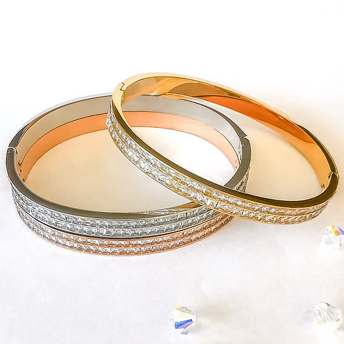 Baguette Crystal Stainless Steel Bangle | Rose Gold, Gold or Silver