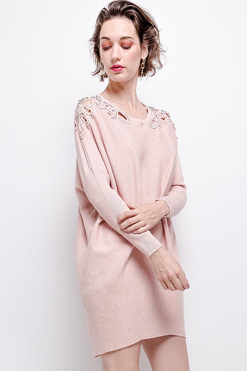 Oversized Jumper Dress with Lace & Crystal Detail | One Size