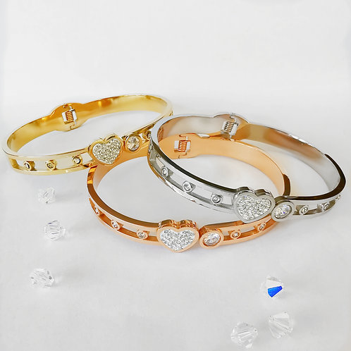 Heart & Crystal Stainless Steel Bangle | Rose Gold, Gold or Silver