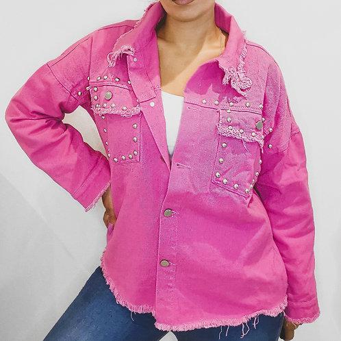 Fuchsia Pink Studded Denim Shirt/Jacket