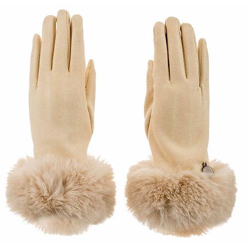Faux Fur Faux Suede Gloves