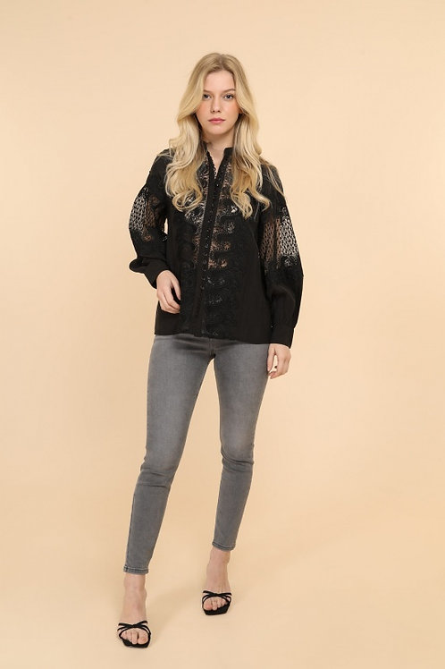 Zimmermann Inspired Black Silk Blouse with Lace Detail
