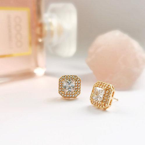 Crystal Stud Earrings   Gold