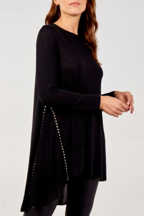 Gold Stud Dipped Hem Tunic With Sheer Panel | Black
