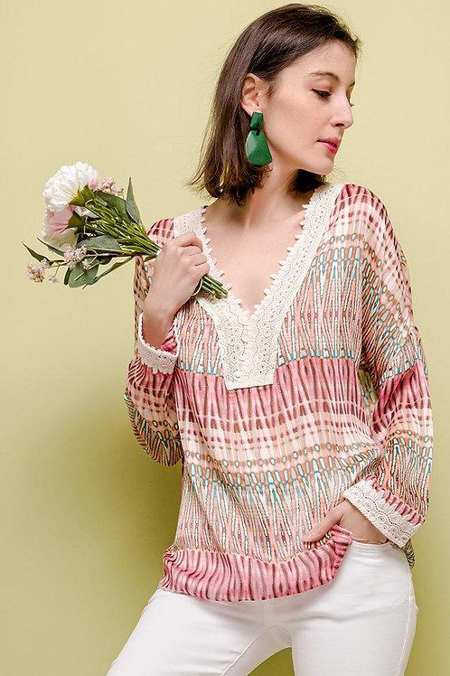Print Blouse with Lace Detail | Multicolour