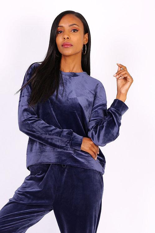 Velour Feel Navy Loungewear Set | S to XXL