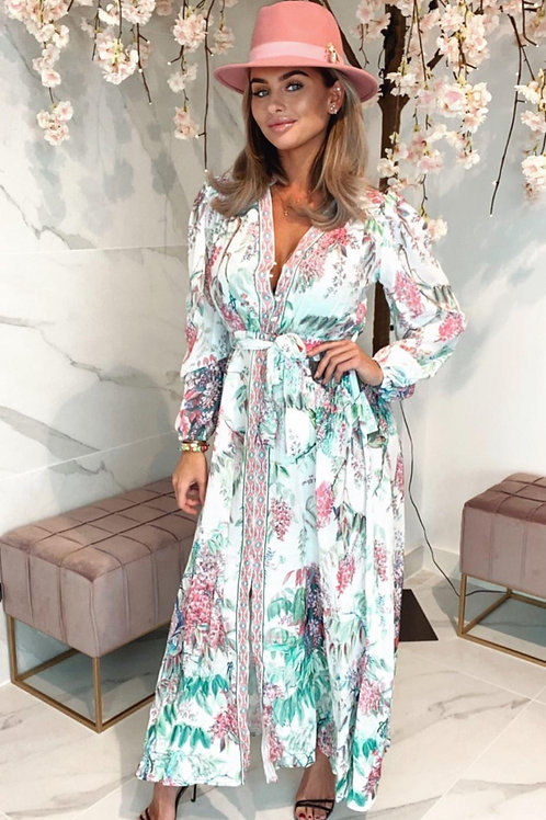 Floral & Multicoloured Belted Maxi Dress