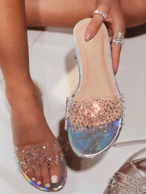 Diamante Detail Clear Perspex Flat Sandal InRainbow Silver or Champagne