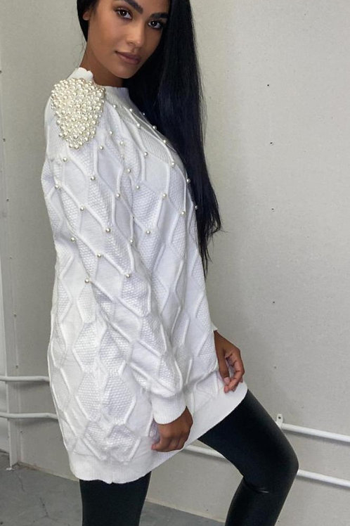 Pearl Embellished Jumper Dress | White