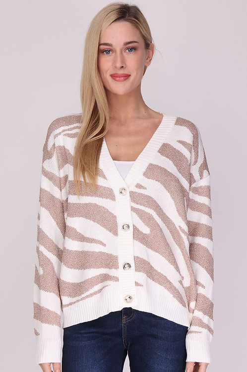 White & Rose Gold Zebra Print Cardigan with Gold Buttons