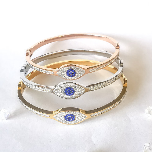 Evil Eye Crystal Stainless Steel Bangle | Rose Gold, Gold or Silver