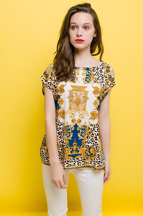 Frime Blue Printed Blouse with Crystal Detail | Various Sizes