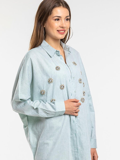 Oversized Mint Cotton & Linen Shirt with Crystal Embellishment