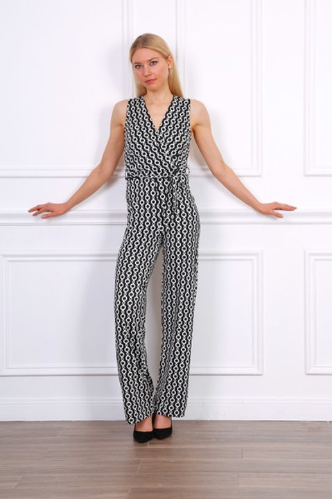 Chain Print Stretch Jumpsuit in Black & White| S, M or L