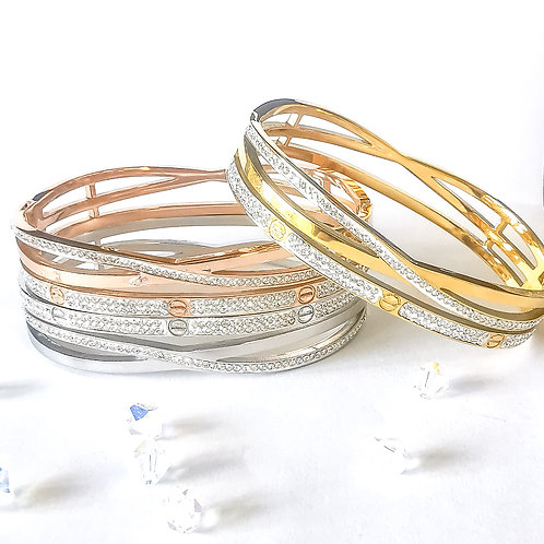Crystal Stainless Steel Bangle | Rose Gold, Gold or Silver