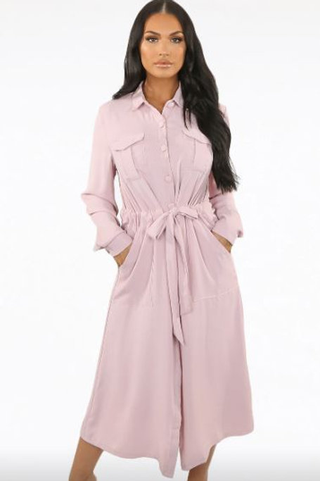 Midi Pink Shirt Dress | S, M or L