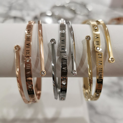 Stainless Steel Crystal & Roman Numeral Bangle | Gold, Rose or Yellow Gold