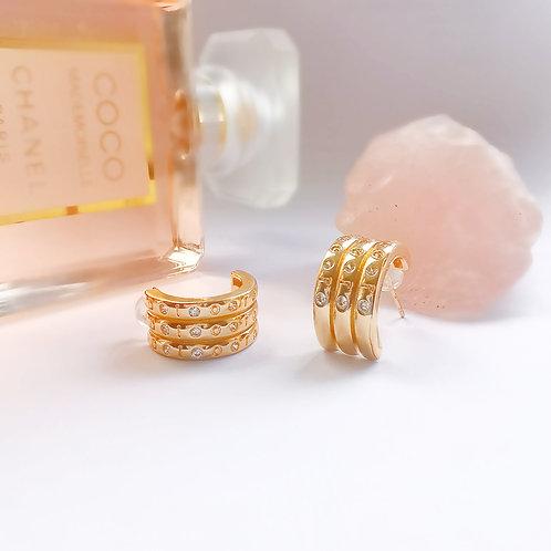 Gold & Crystal Triple Hoop Effect Earrings