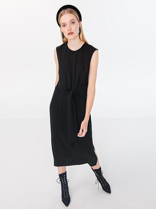 BLACK WRAP FRONT DETAIL MIDI DRESS