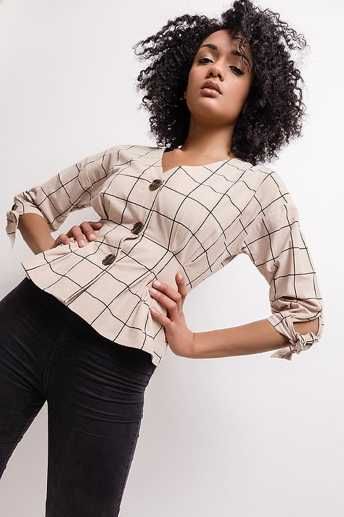 Check Beige Cotton Blouse with Button Detail