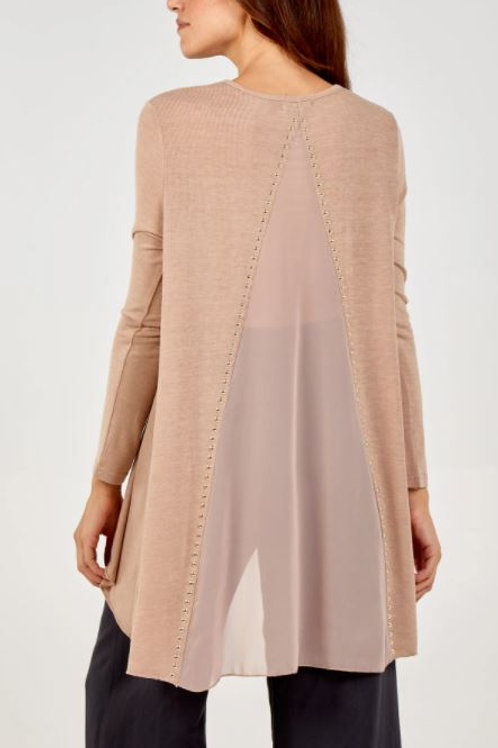 Gold Stud Dipped Hem Tunic With Sheer Back | Taupe