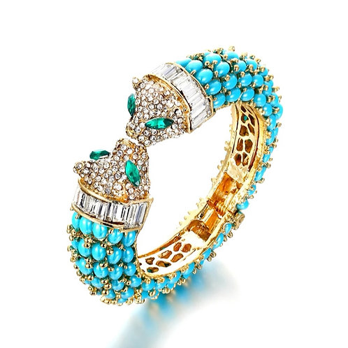 Crystal Leopard Bangle | Black, White or Turquoise
