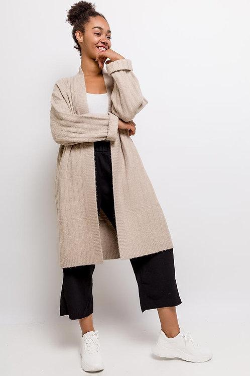 Oversize Fit Long Ribbed Knit Cardigan | Light Grey or Beige
