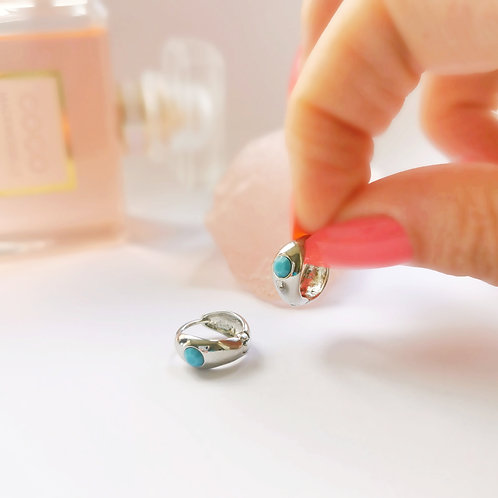 Turquoise Stone Mini Hoops | Silver