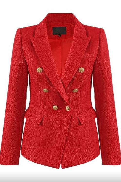 Balmain Inspired Golden Button Double-Breast Hopsack Blazer | Red
